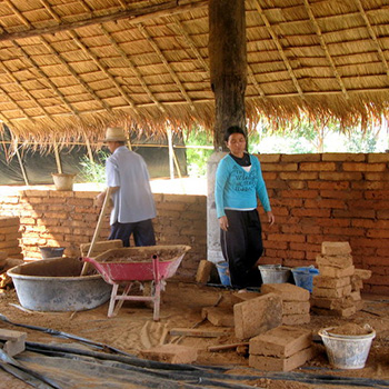 Laying mud brick