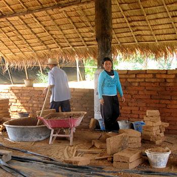 Laying mud brick
